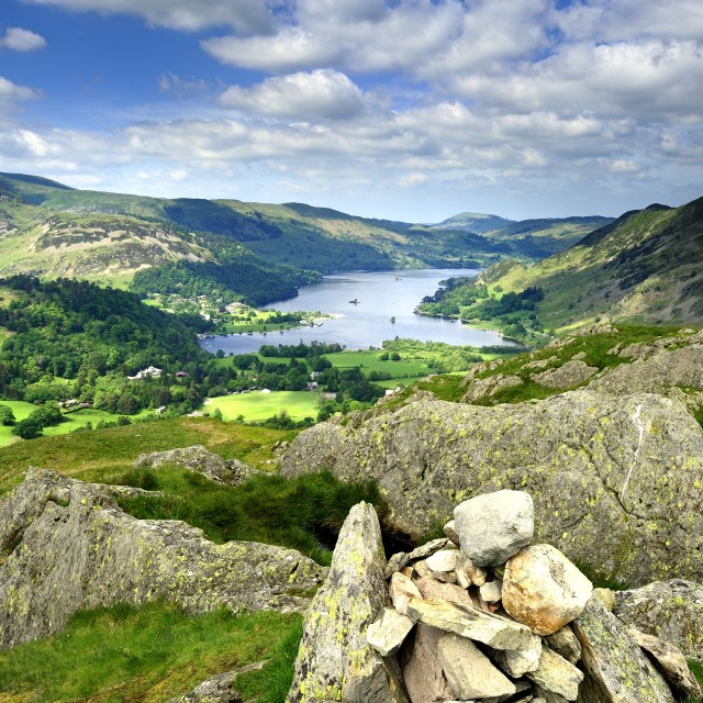 """Ullswater and fells"" stock image"