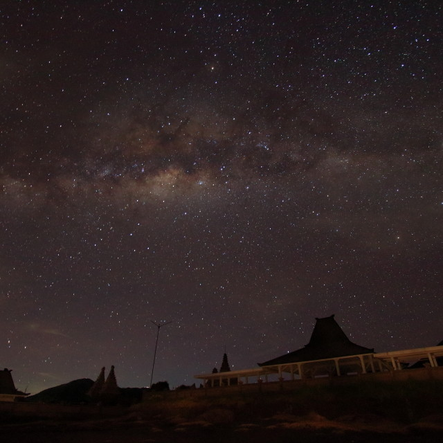 """""""milky way above a temple"""" stock image"""