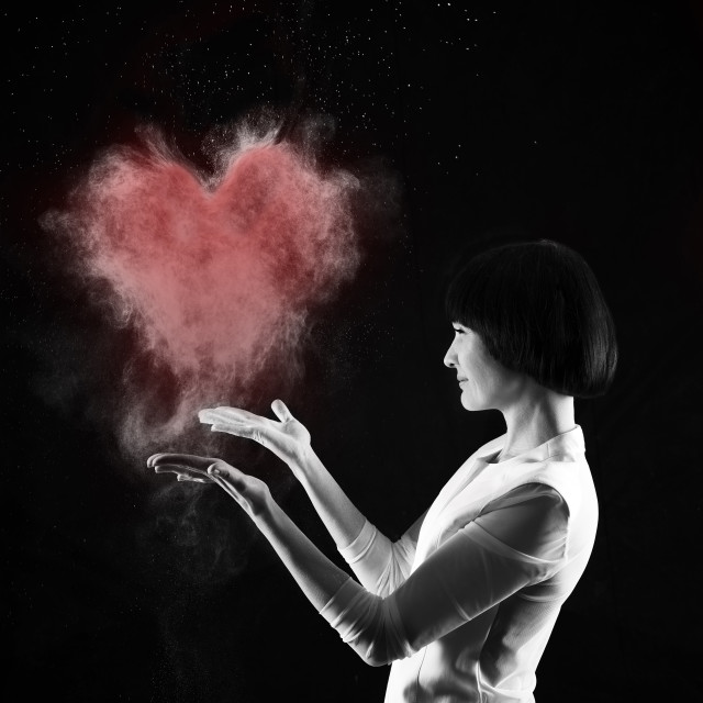 """Woman with heart"" stock image"