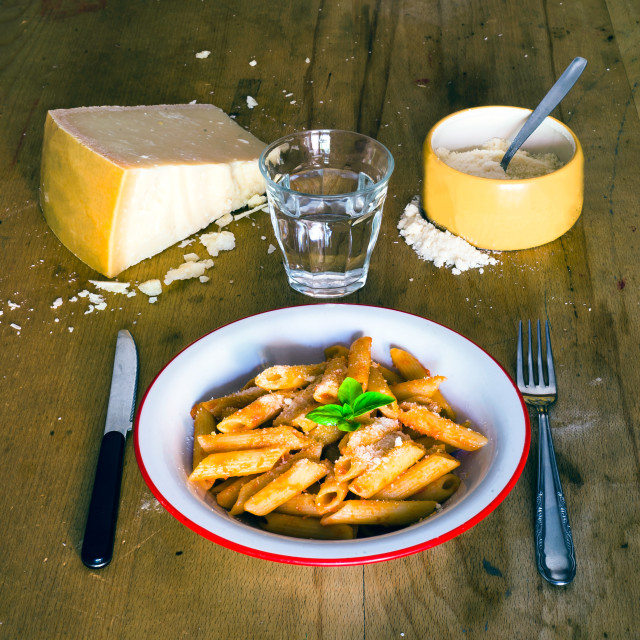 """Penne al Pomodoro whith cheese"" stock image"