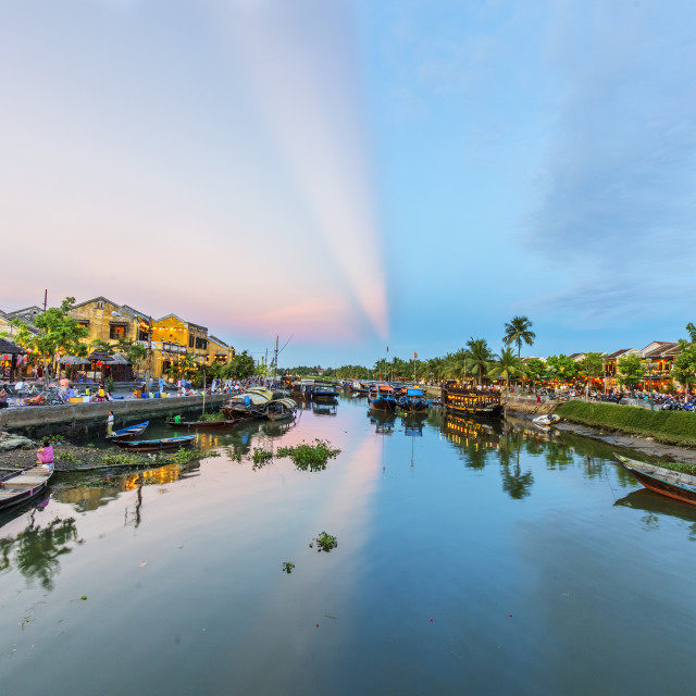 """Sunrise at Hoai River in Hoi An Ancient Town"" stock image"
