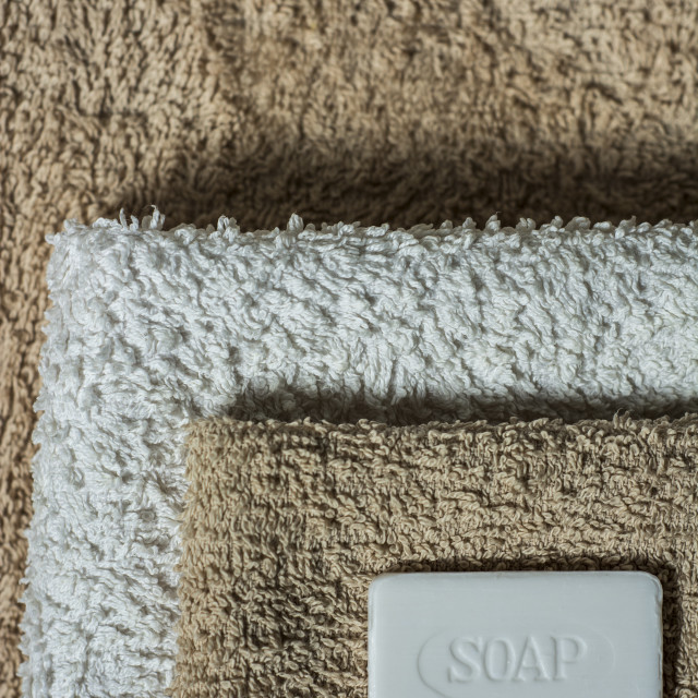 """Soap and towels, Bathroom background. Vertical orientation"" stock image"