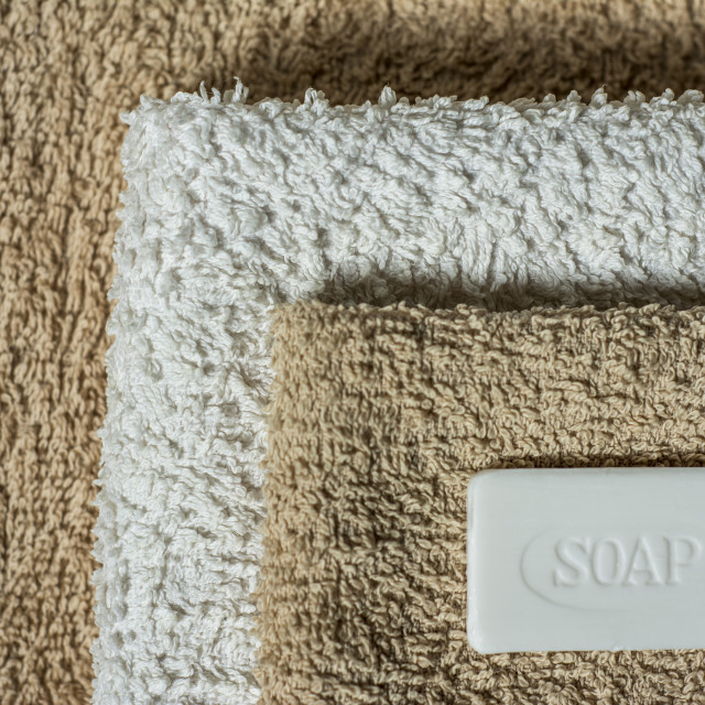 """Soap and towel background"" stock image"