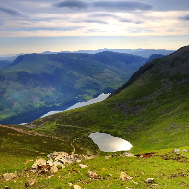 """Tarns and the Fells"" stock image"