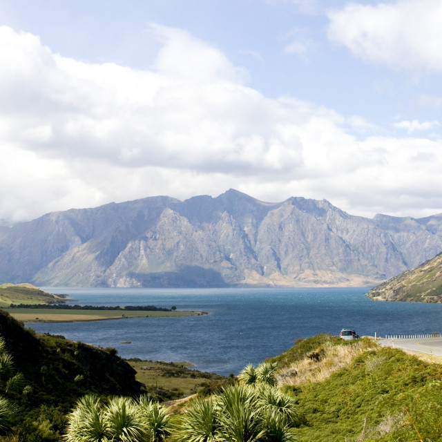 """Looking at view near Queenstown"" stock image"