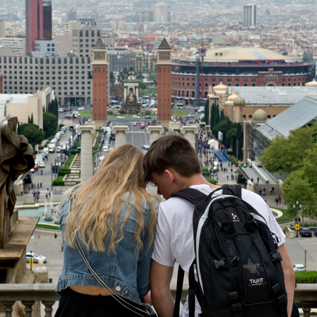 """Love in Barcelona"" stock image"