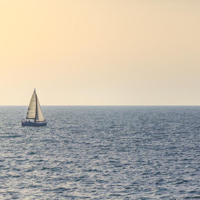 """""""Boat in Tel Aviv, Israel"""" stock image"""