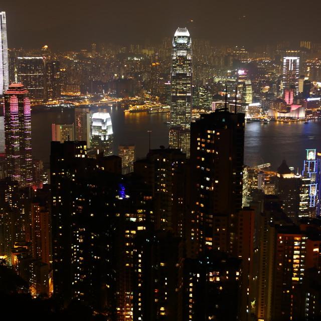 """""""Victoria Peak Hong Kong at night"""" stock image"""