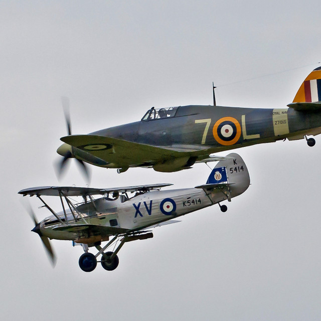 """Sea Hurricane and Hawker Hind"" stock image"