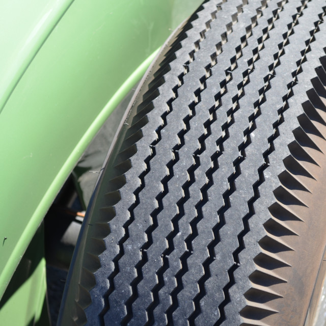 """""""Tread on a cross ply tyre."""" stock image"""