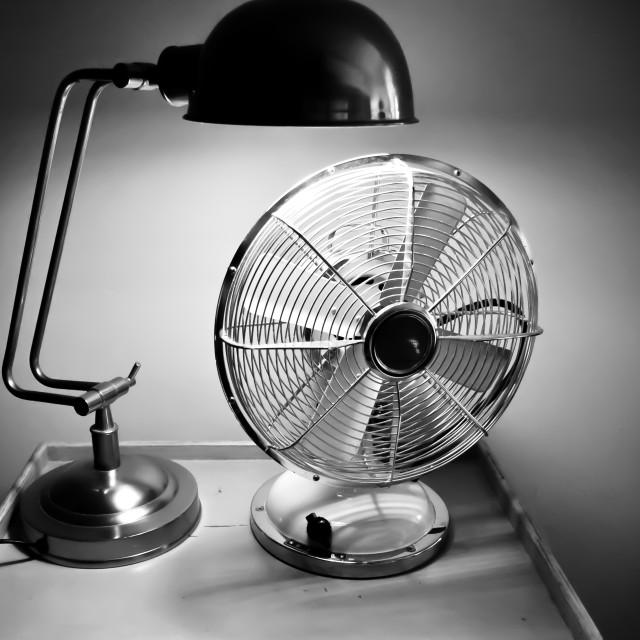 """Deco desk light and fan"" stock image"