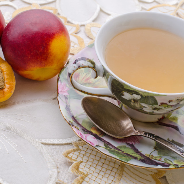 """Green Tea And Nectarines"" stock image"