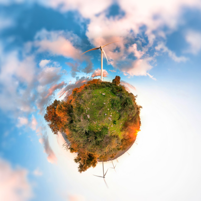 """Little Planet with wind turbines"" stock image"
