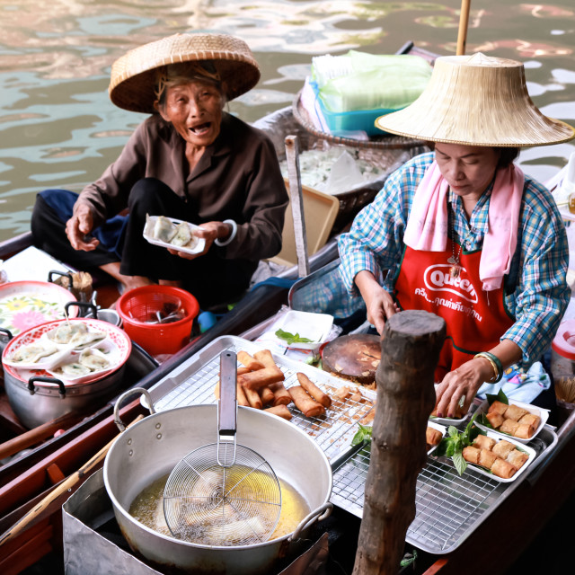 """Floating market food sellers"" stock image"