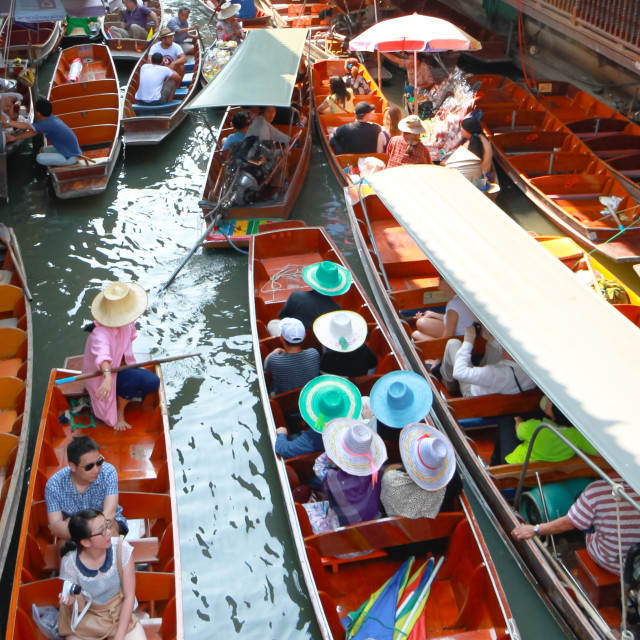 """Floating market Thailand"" stock image"