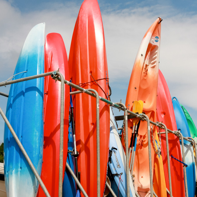 """Canoes and Kayaks"" stock image"