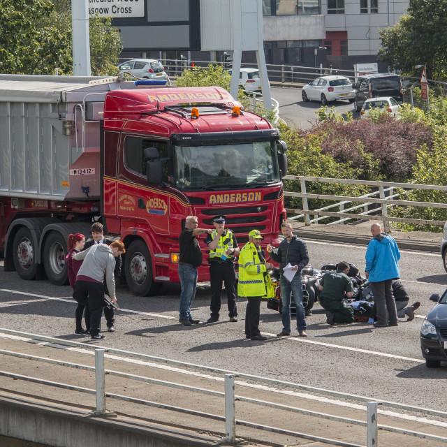 """Motorbike crash M8 Glasgow 18th aug"" stock image"