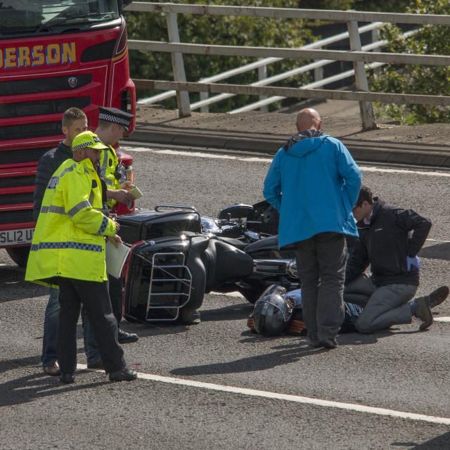 """Motorbike/Lorry crash M8 Glasgow"" stock image"