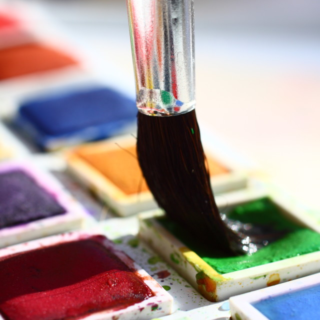 """Watercolour paints"" stock image"