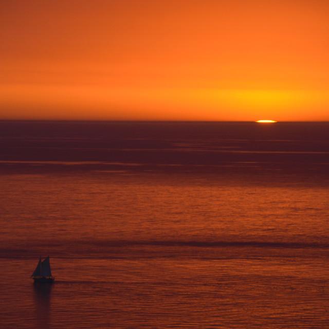 """""""Red Sunrise Sailboat"""" stock image"""