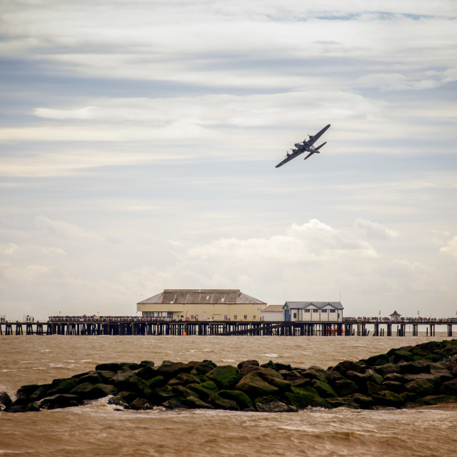 """""""Flying Fortress Over Clacton Pier"""" stock image"""
