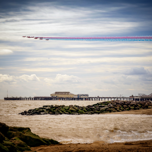 """Incoming Red Arrows Over Clacton Pier"" stock image"