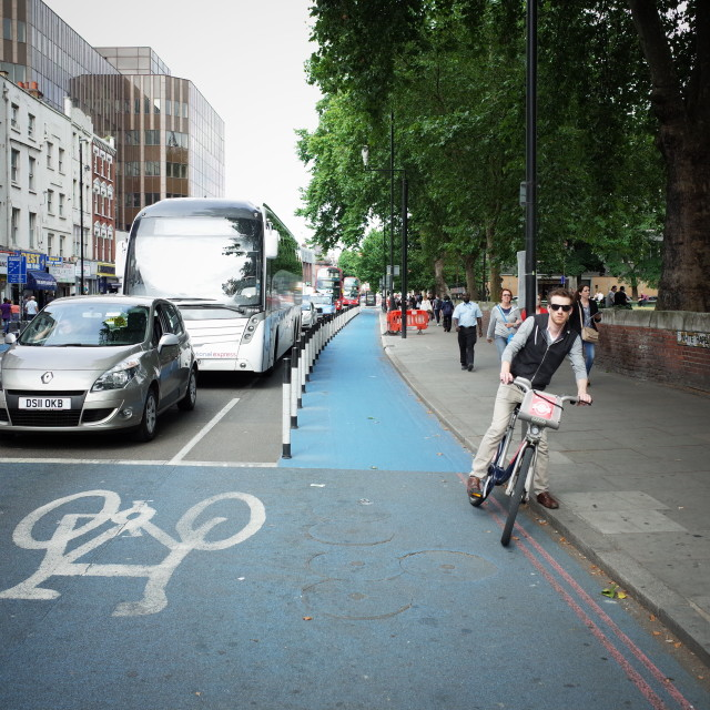 """Protected cycle track"" stock image"