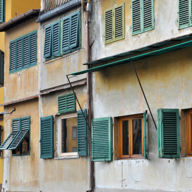 """Shutters on the Ponte Vecchio"" stock image"