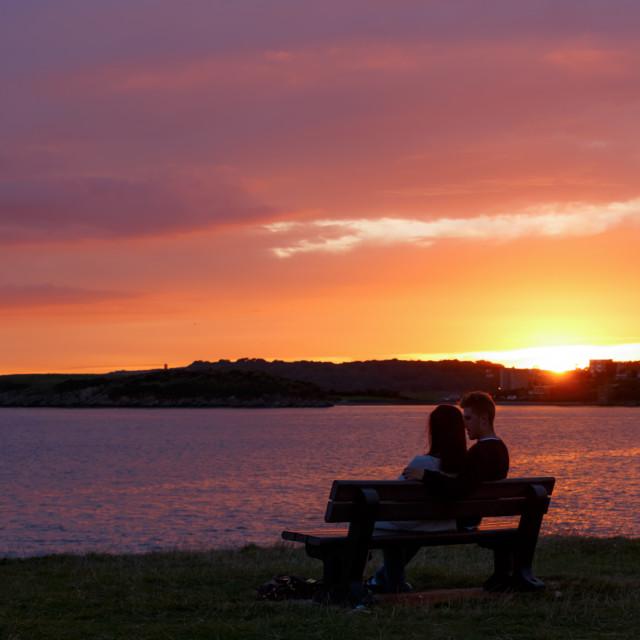 """""""sunset couple"""" stock image"""