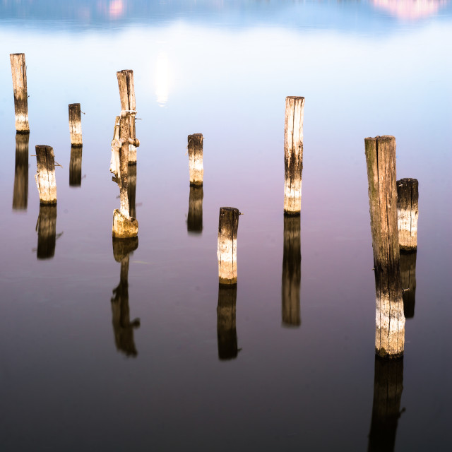 """particulary of the pier at the lake"" stock image"
