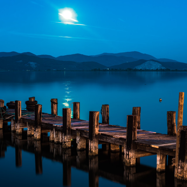 """the pier at the lake Massaciuccoli"" stock image"
