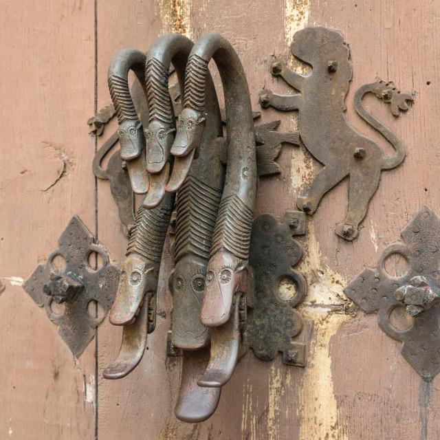 """""""Door Knocker, Albarracin, Spain"""" stock image"""
