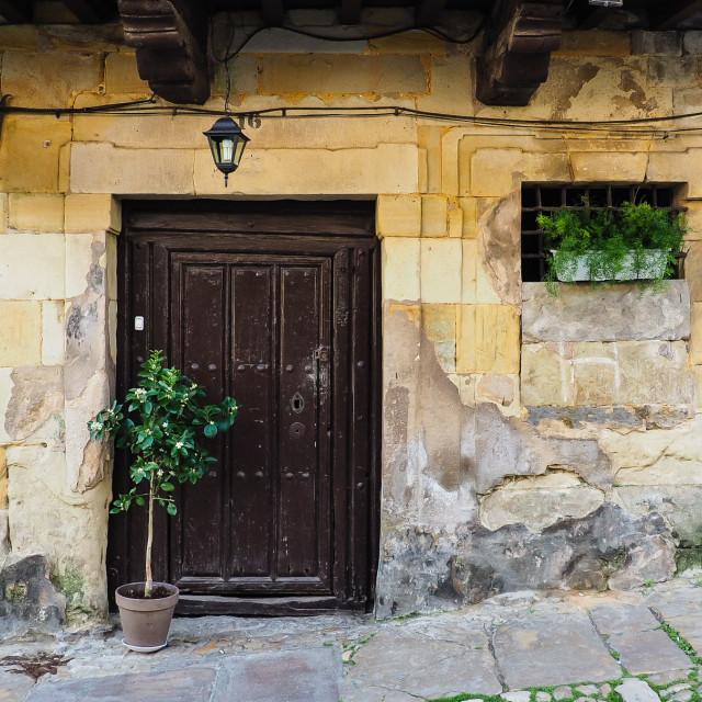 """""""Doorway, Santillana de Mar, Spain"""" stock image"""
