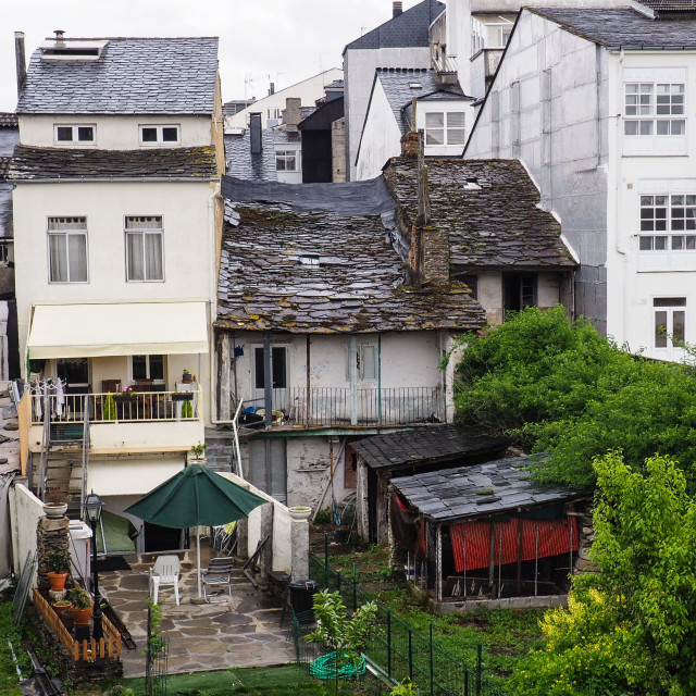"""Mixed architecture, Lugo, Galicia, Spain"" stock image"