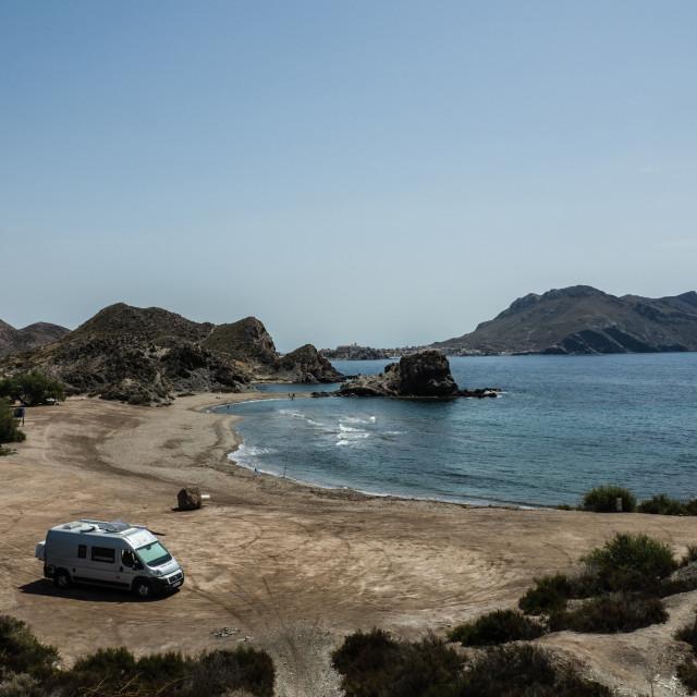 """Beach with Motorhome, Spain"" stock image"