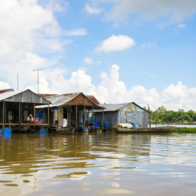 """Floating fish village on the Mekong Delta, Vietnam"" stock image"
