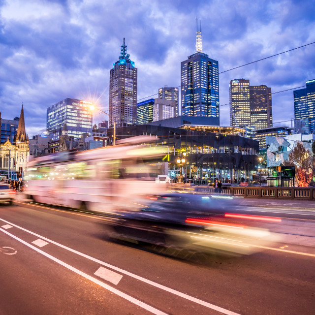 """Melbourne night tram"" stock image"