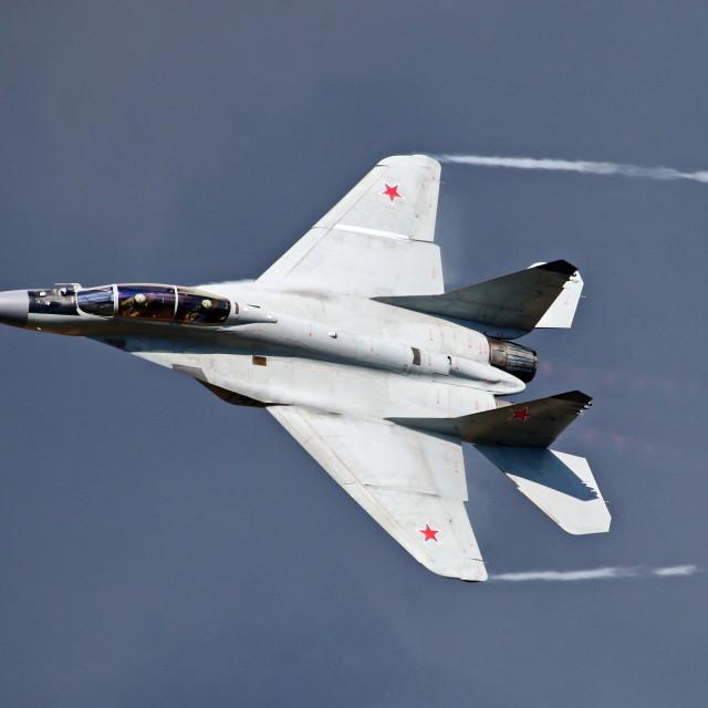 """""""MiG-35 at MAKS 2015 airshow"""" stock image"""