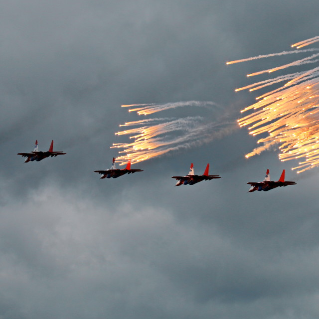 """The Swifts aerobatic team (Strizhi)"" stock image"
