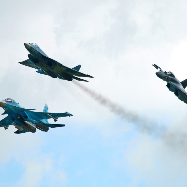 """The newest Sukhoi military airplanes Su-34, T-50 (PAK FA) and Su-35"" stock image"