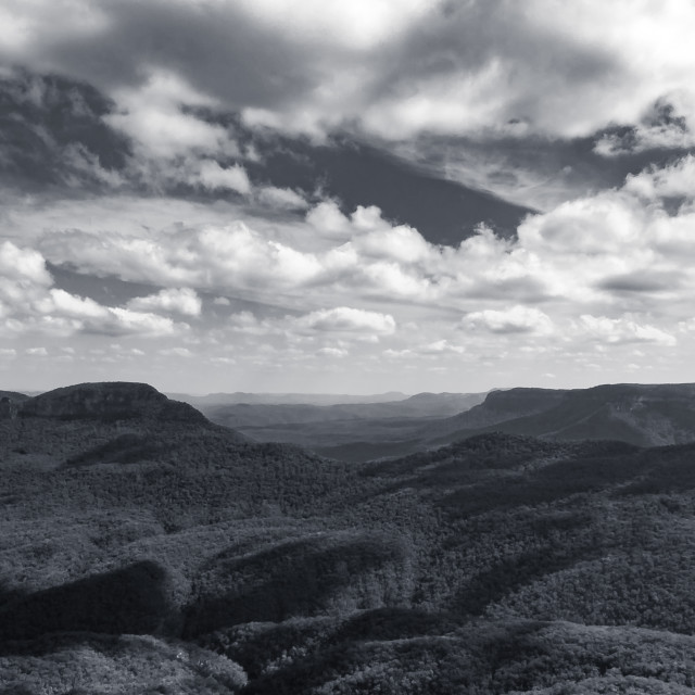 """Blue Mountains in Black & White"" stock image"