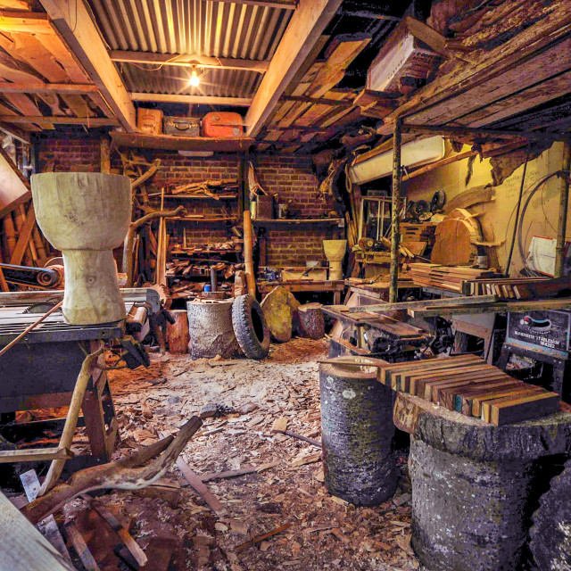 """A wood carver's workshop"" stock image"