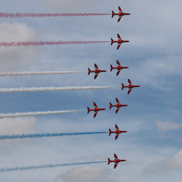 """Red Arrows in formation"" stock image"
