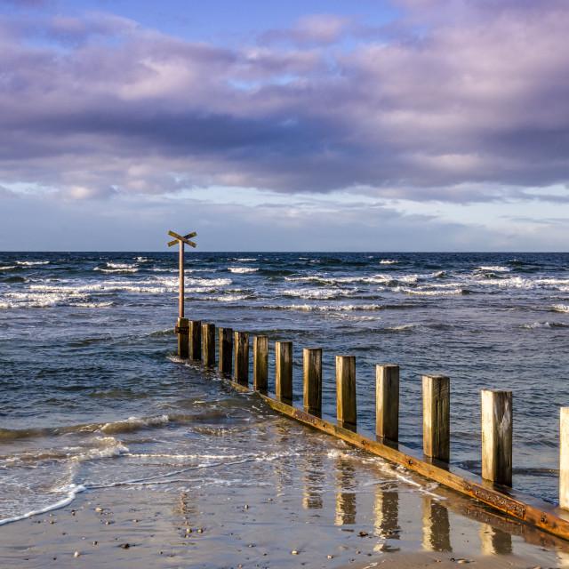 """""""Seabreak At Findhorn"""" stock image"""