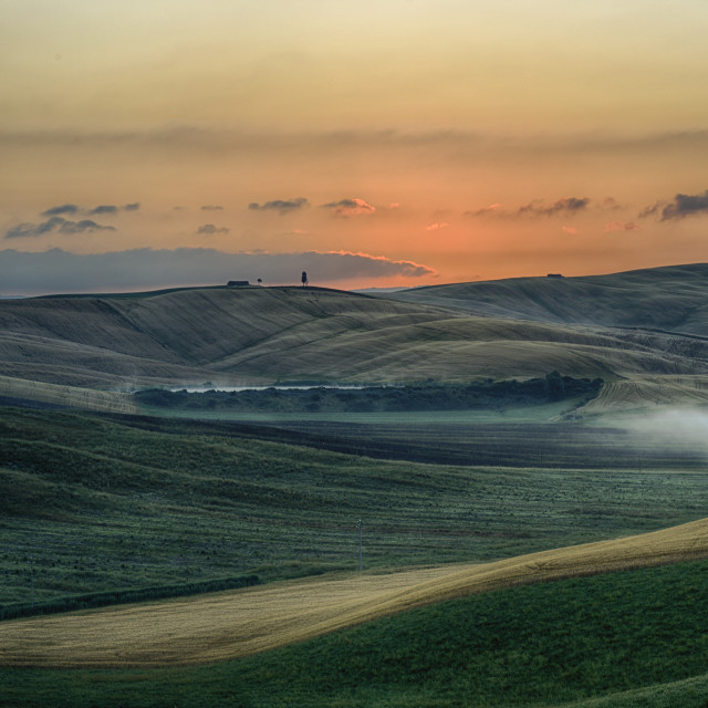 """Sunrise over the Crete Senesi"" stock image"