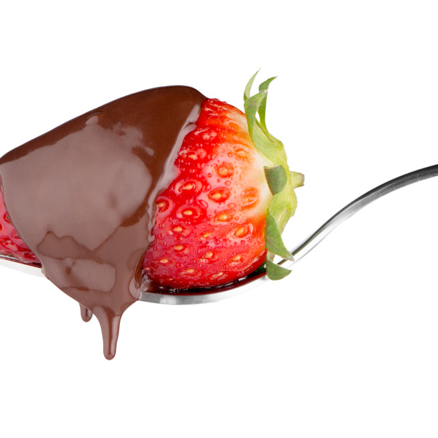 """Strawberry and chocolate on a fork"" stock image"