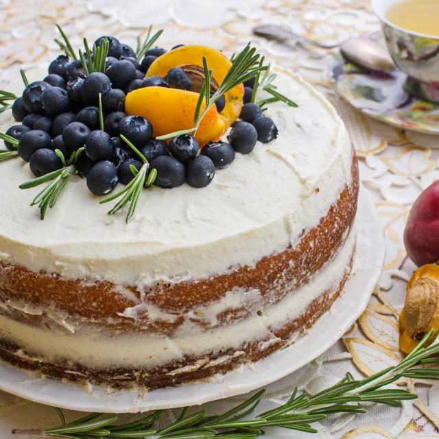 """Cake With Fruit, Berries And Tea"" stock image"