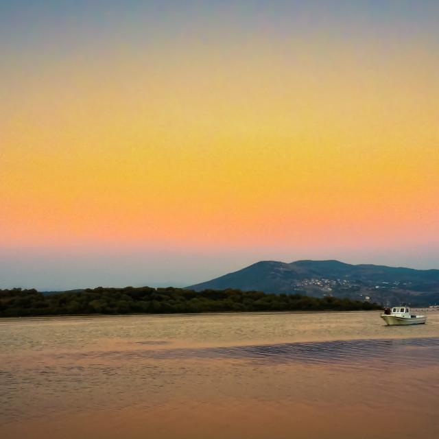 """lake scene sun-set"" stock image"