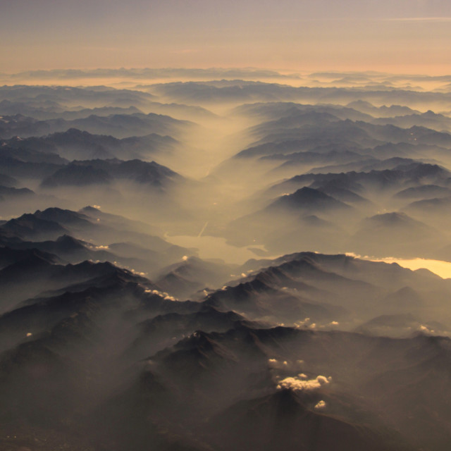 """Early morning misty mountains"" stock image"