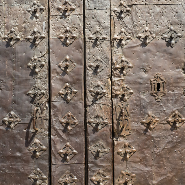 """""""Metal covered door, Albarracin, Spain"""" stock image"""